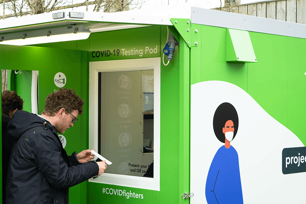 covid 19 testing pod by project screen